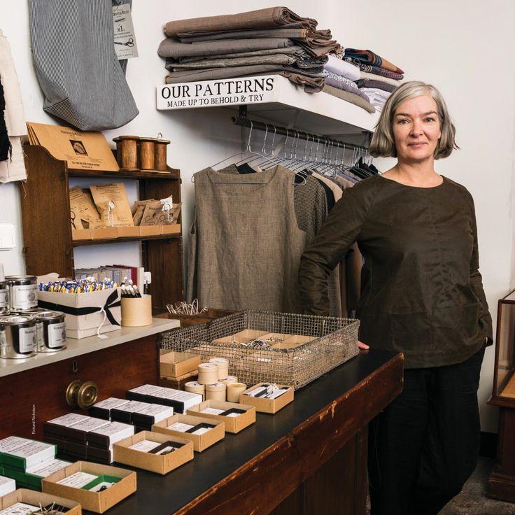 Carolyn in the shop wearing Merchant & Mills Top 64 in Oilskin | The Draper's Daughter #merchantandmills #top64