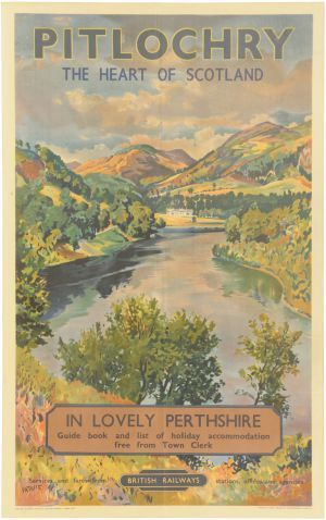 Pitlochry British Railways Poster. Classic poster material, Pitlochry in Perthshire looks amazing on a poster!