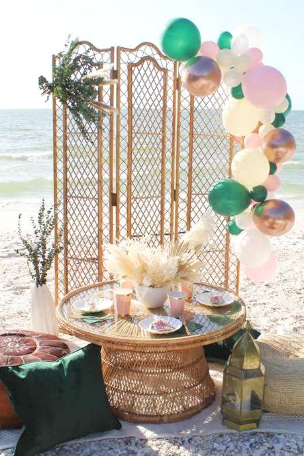 Boho Summer Party Ideas Photo 1 Of 24 In 2020 Beach Themed Party Beach Birthday Party Boho Themed Party