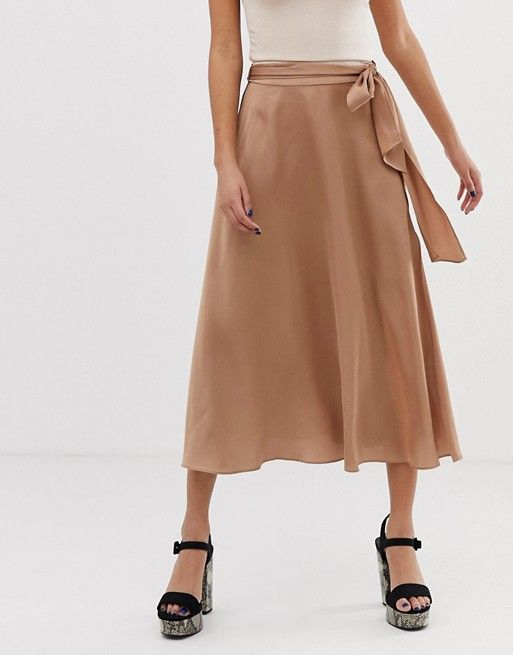 b8057c58b7 DESIGN satin midi skirt with self belt in 2019 | Skirts | Satin midi ...
