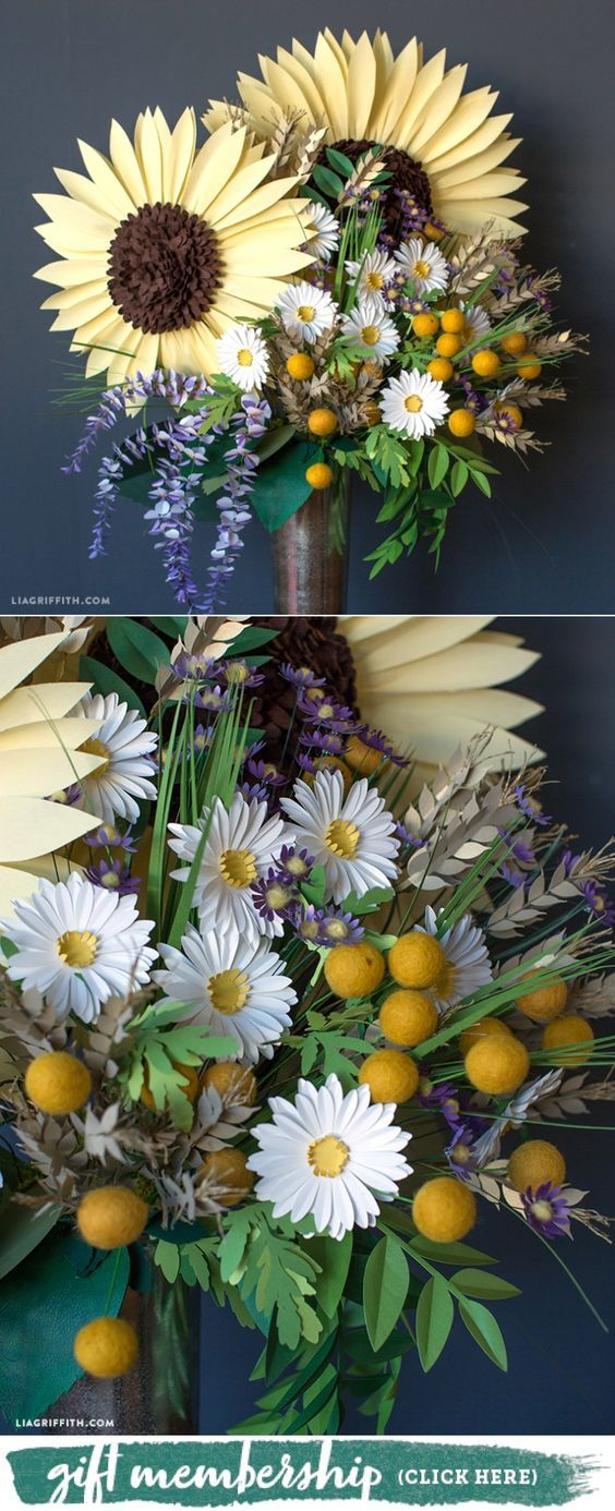 Midwestern Floral Bouquet - www.liagriffith.com #cricutmade #cricutmaker #diyinspiration #diyidea #diyideas #paperflower #paperflowers #crepepaperrevival #madewithlia