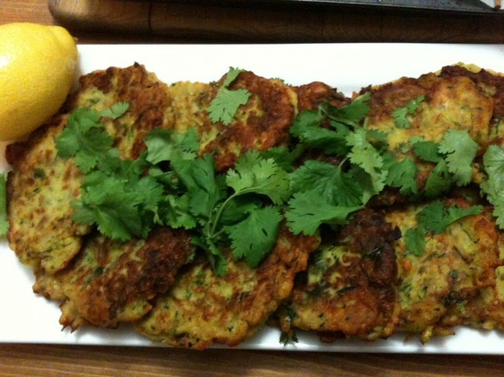 Zucchini, Coriander and grated Haloumi Fritters