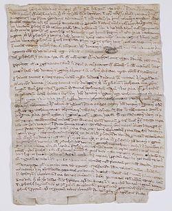 Testament de Philippe Auguste donné à Saint-Germain-en-Laye, septembre 1222. Paris, Archives nationales, AE/II/214