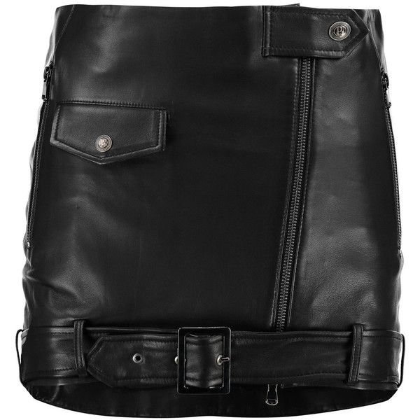 Pierre Balmain Buckled leather mini skirt ($505) ❤ liked on Polyvore featuring skirts, mini skirts, black, short leather skirt, stretch mini skirt, leather mini skirt, short mini skirts and leather zip skirt