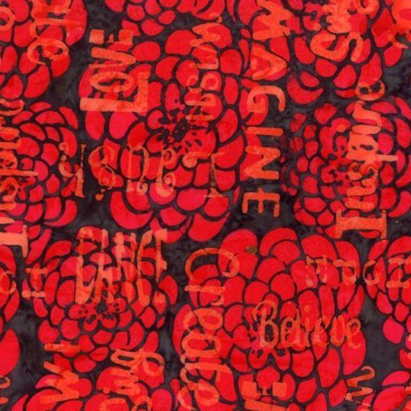 Bavlněná látka Batika Bali květy a nápisy červená BB