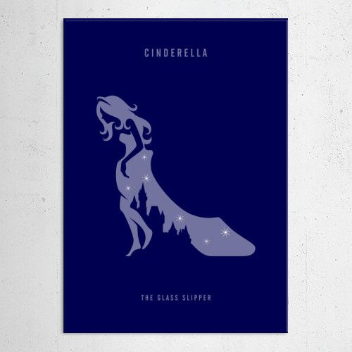 Illustration of Cinderella the glass slipper in negative space style