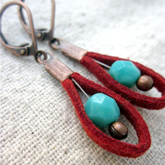 Dangle Earrings with Blue Glass Beads and Red Sueded Cord on Copper: Red Shot. $14.00, via Etsy.
