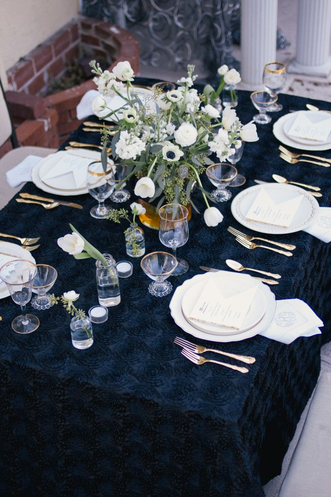 Swoon Worthy Navy Blue Linen Against Lovely White Florals