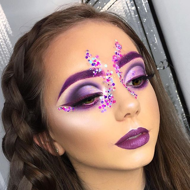 We got a tiiiiny bit carried away today  Butterfly/festival/alien vibes  @maccosmetics Heroin lipstick in brows   @morphebrushes 35C pallet   @makeupgeekcosmetics Taboo   @muacosmetics Liquid lipstick in Kooky on the lid and lips and Vivacity for bottom mascara   Glitter Stellar Bubblegum glitter  @nyxcosmetics Frostbite eyeshadow for highlight   @eyelure_lashes 202 lashes   @marcjacobs Remarcable foundation