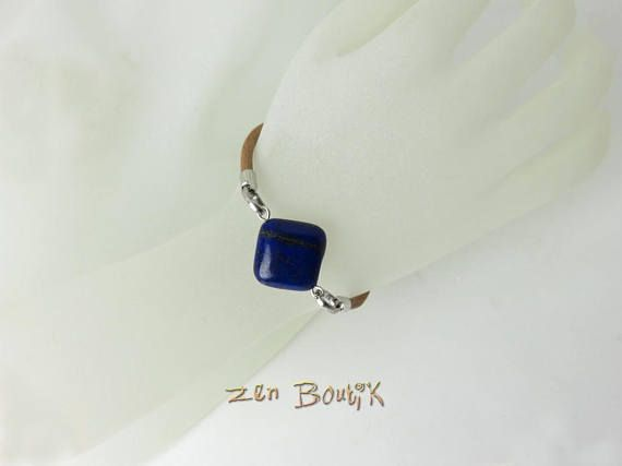 Bracelet Cuir Minimaliste Lapis Lazuli Zen Chic Casual