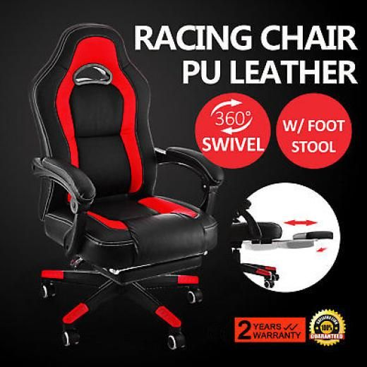 Vevor Spiegel Office Computer Racing Style Gaming Extend Foot Stool Adjustable Pu Chair Nap Black And Red Faux Leather Zgc54007 With China Normal Leather,wood Veneer 5-star Aluminum Cantilever Leg,ergonomic,high Back,lumbar