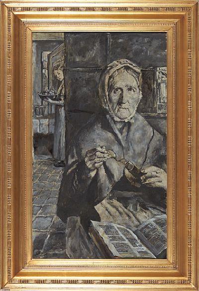 """Gammel kone"" Olje på lerret, 92x55 cm Signert nede til venstre: C Krogh"