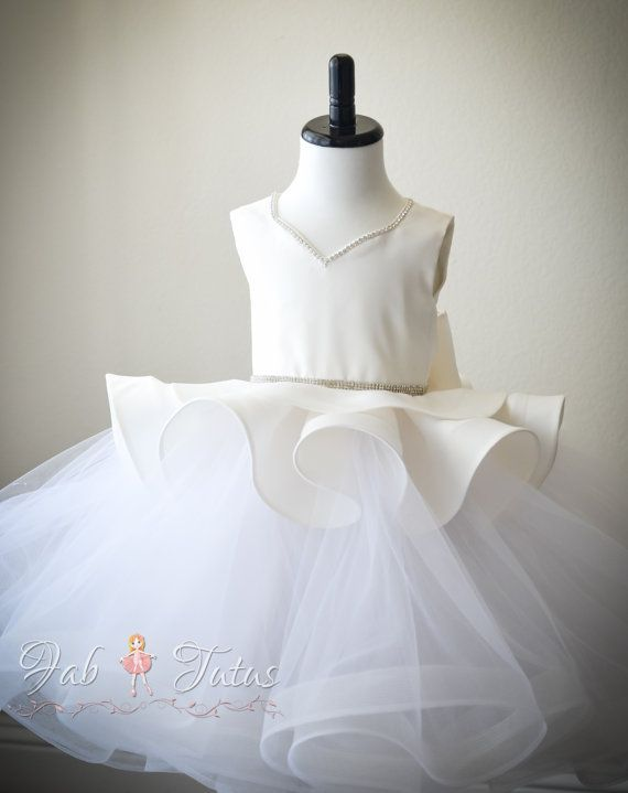 Mini Me flower girl tutu dress with peplum bodice and by FabTutus:
