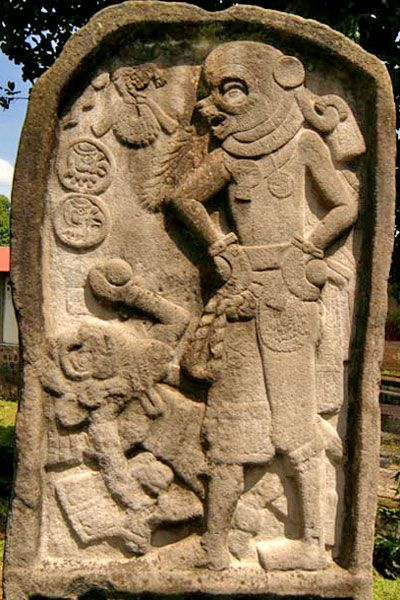 17b - stele Meso-American artefact of an alien astronaut with helmet, & a bearded god lying on his back, this is not possible in Meso-America, they just got it wrong!