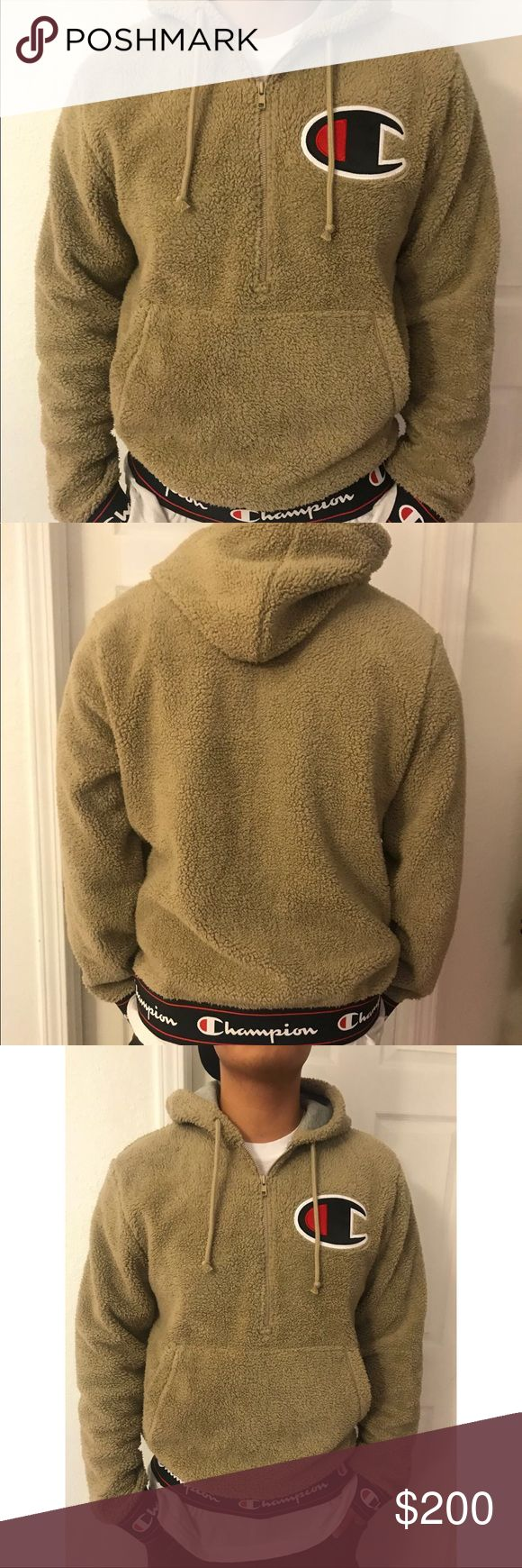 Champion Sherpa Half zip Selling Sherpa Half Zip Hoodie || baige color || 100% authentic || size XL || sold out everywhere || only 1 available Champion Jackets & Coats Pea Coats
