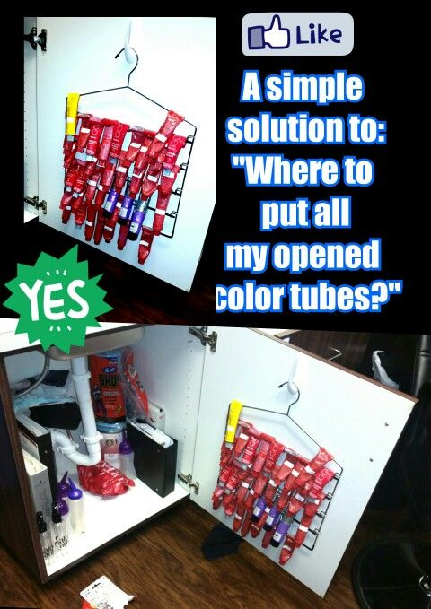 An easy organization idea I came up with to store all my opened hair color tubes.  :)  Barbara Binford Hays w/ To Dye For Hair Studio. Located in Salon Suites