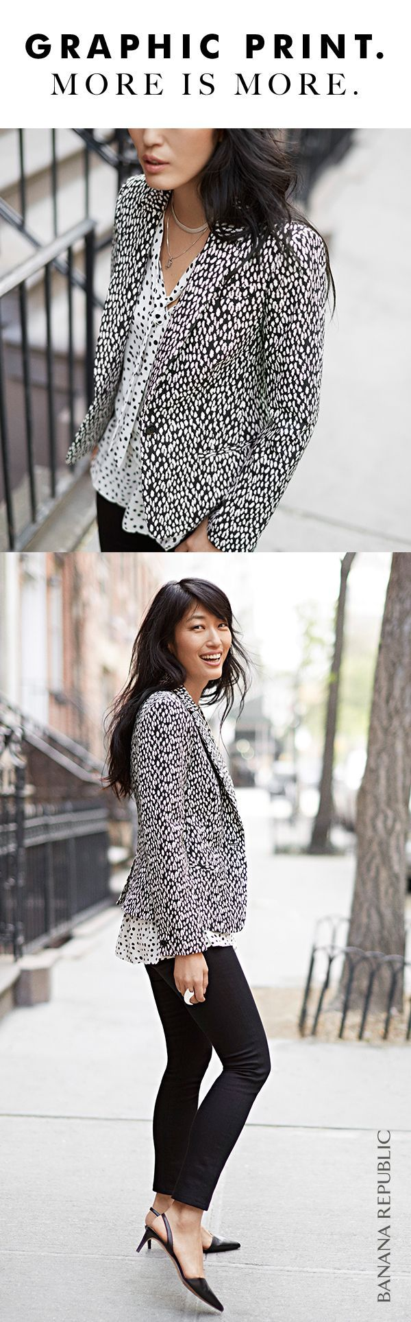 A little print goes a long way with our chic tailored black and white print blaz…