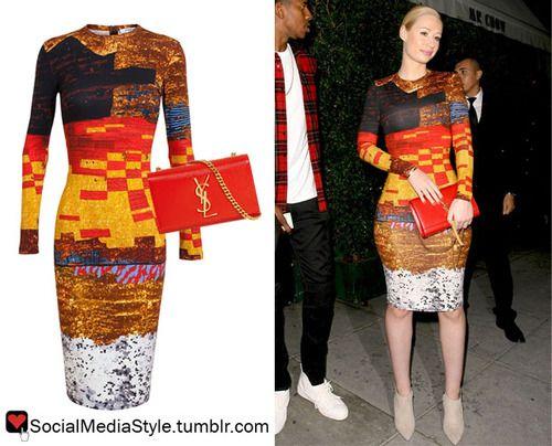Buy Iggy Azalea's Gustav Klimt Inspired Print Dress and Red YSL Clutch, here!