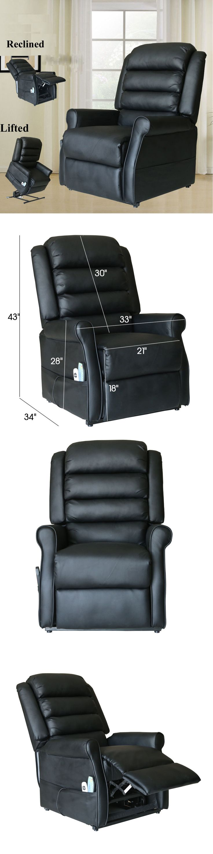 Electric Massage Chairs: Electric Power Lift Chair Leather Heated Massage  Recliner Sofa Lounge W Control