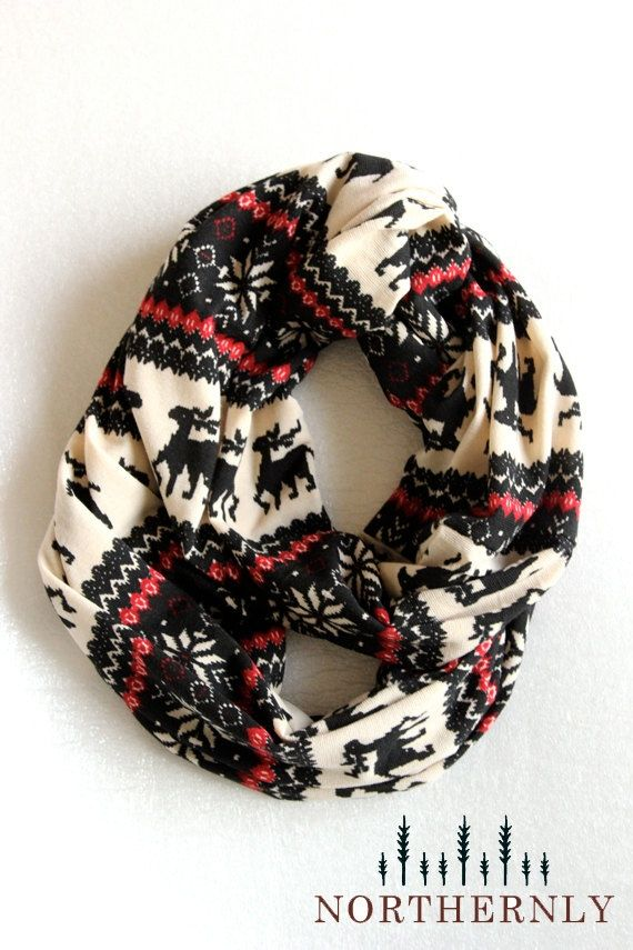 Nordic Scarf, Sweater Knit Infinity Scarf.  Perfect for the holidays