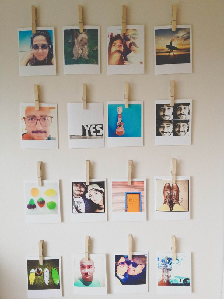 Cute idea for displaying pics, could change them out frequently