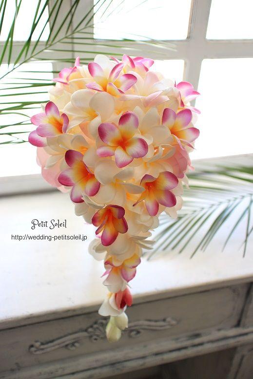 プルメリアのブーケ 造花ブーケ ハワイ挙式