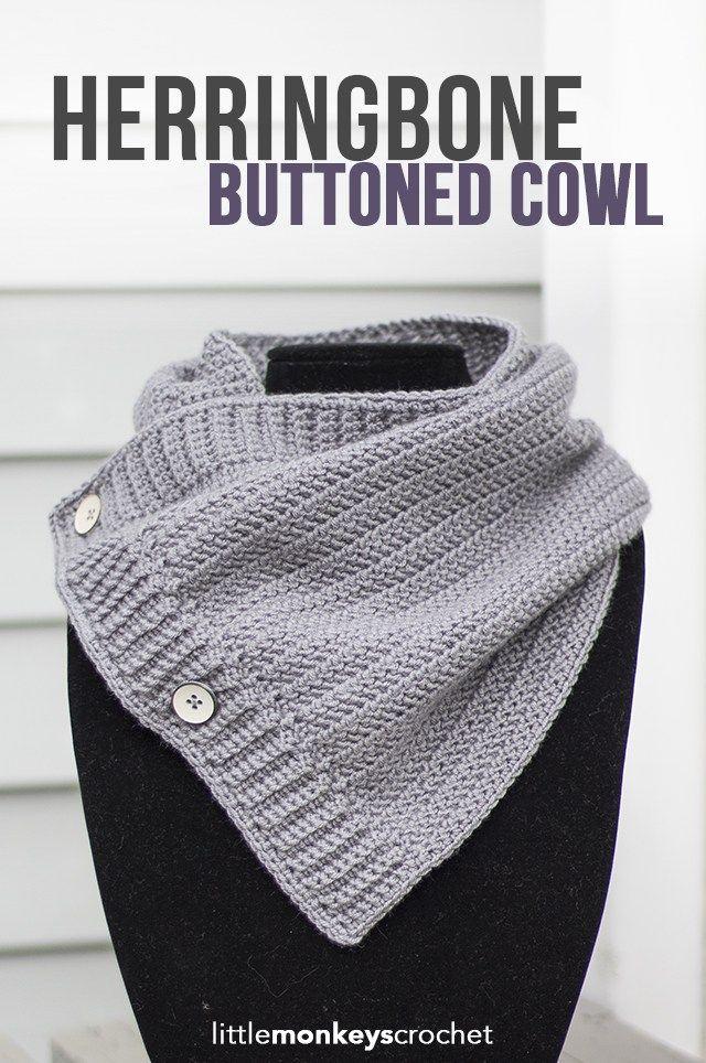 Herringbone Buttoned Cowl Crochet Pattern  |  Free button cowl crochet pattern by Little Monkeys Crochet
