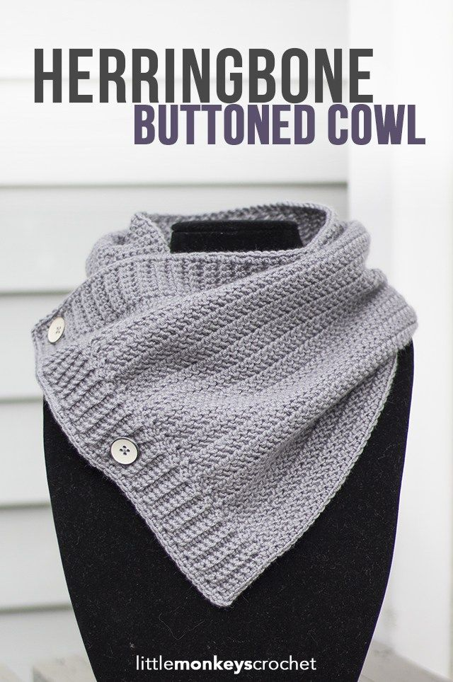 Make it with new Vanna's Style! Herringbone Buttoned Cowl by Little Monkeys Crochet.