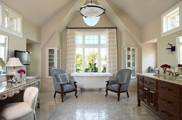 "TEA2 Architects - Minnetonka Shingle-Style__Like the non ""Bathroom"" feel and use of drapery panels to frame the tub and enhance the room's focal point"
