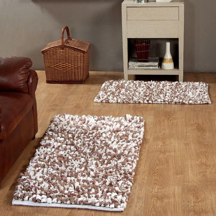2 Piece Hand Woven Paper Shag Area Rug Set