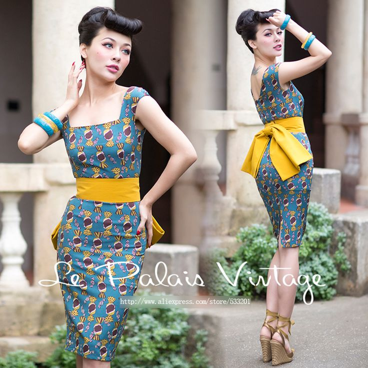 Le Palais Vintage Free Shipping 2016 Autumn New Candy Pattern Hit Color Big Bow Sleeveless Square Collar Dress Women Give Girdle