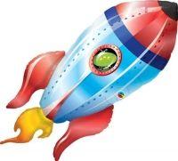 Ballon Alu Qualatex Forme de  Fusée avec petit homme vert  40 (97cm)