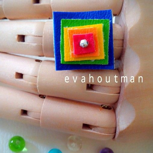 Square... #handmade #leather #rainbow #ring #art #craft #DIY #picture #image #photography #photooftheday #product #fashion #accessories #evahoutman