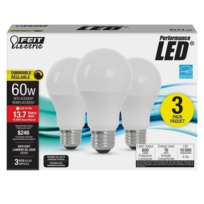 Feit Electric OM6085015KLED3CAN/42 60W Equivalent A19 LED Light Bulbs (3 Pack)