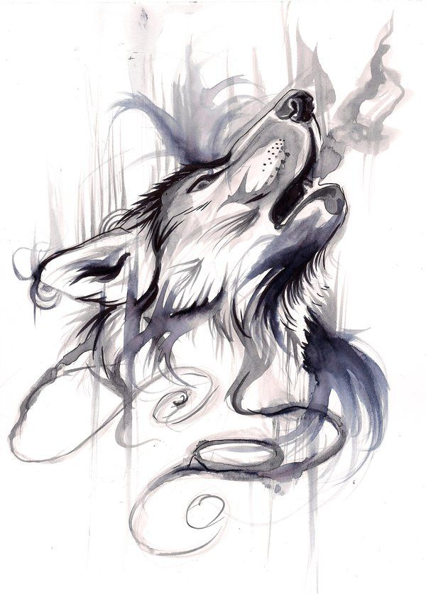 Howling Wolf black&white aquarelle tattoo                                                                                                                                                      Más