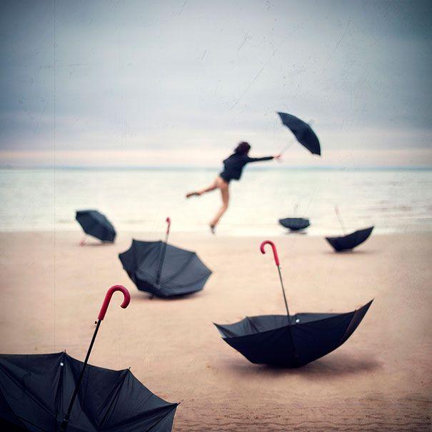 Raining Umbrellas.