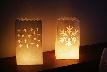 Lámparas de Papel Ignífugo Estrellas y copo de Nieve