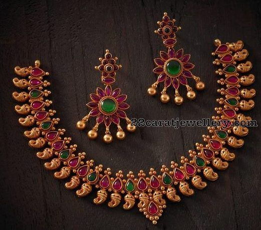 Pota Ruby Emerald Mango Necklace | Jewellery Designs