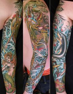 In Malmö, Sweden, there's a very skilled tattoo artist, his name is Peter Lagergren. His portfolio goes from traditional japanese subjects to neo-traditional sailor/americana pieces realized as full sleeves, full back pieces or smaller ones.