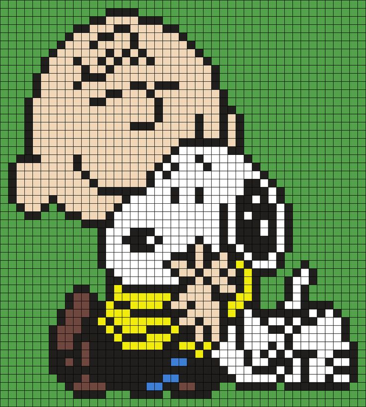 Charlie Brown And Snoopy (Square) Perler Bead Pattern / Bead Sprite