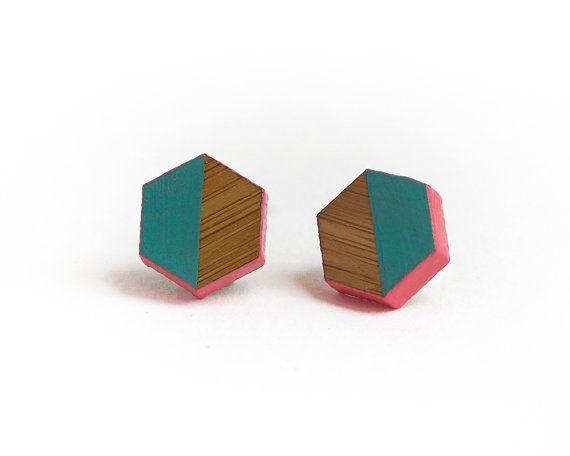 Hexagon Geometric Wooden Earrings Hand Painted by HeartoftheHeart