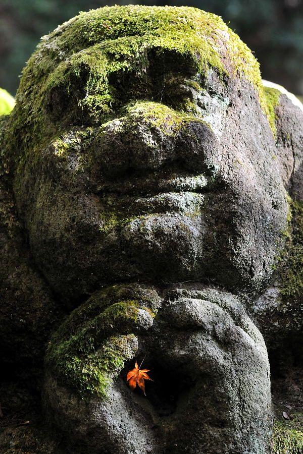 Stone Jizo statues at Otagi Nenbutsu-ji temple, Kyoto, Japan