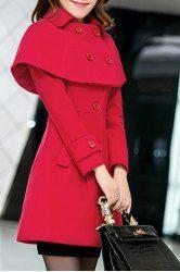 Women Woolen Winter Trench Double Button Coat - Elegant Turn-Down Collar  Long Sleeves Cape Coat For Women