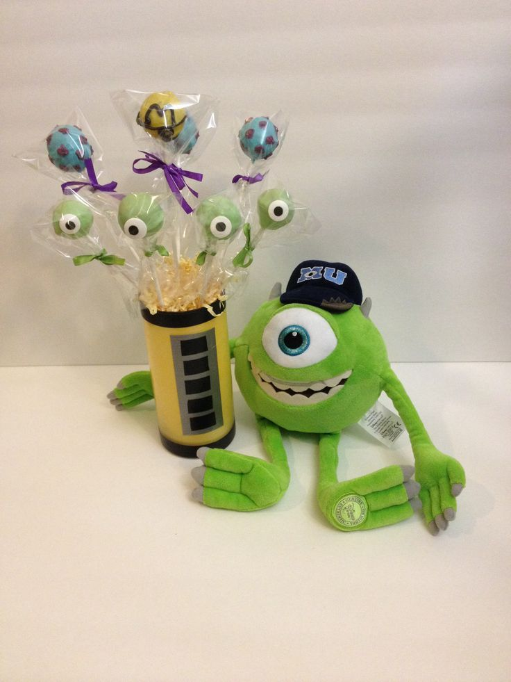 Monsters Inc Centerpieces | Mike, monster inc birthday centerpiece !
