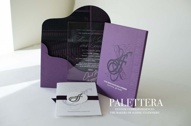 Piano-inspired design for David Foster Foundation. Pearlized paper with blind debossing, foil press, tone-on-tone artwork and a polished lucite invitation with silver presswork. www.palettera.ca