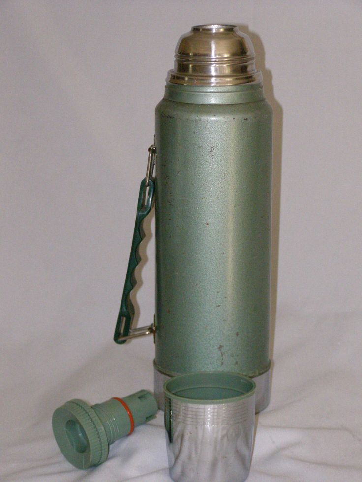 """Vintage Stanley Aladdin thermos Quart Hot or Cold Stainless steel top 14"""" Tall 3pc Made in USA Model Number A-944DH by parkie2 on Etsy"""