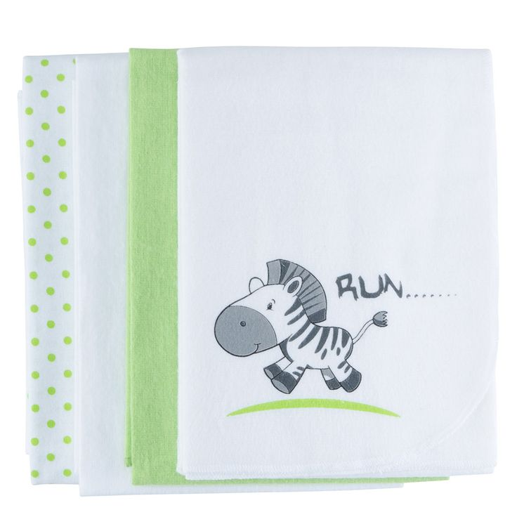 #Moltontücher 4er Pack 80x80 cm Zebra-Tupfen-Grün-Weiß von Makian #Baby  Babyartikel.de