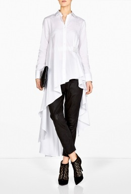 Palmer//Harding | Cotton Poplin Long Back Asymmetric Shirt by Palmer/Harding