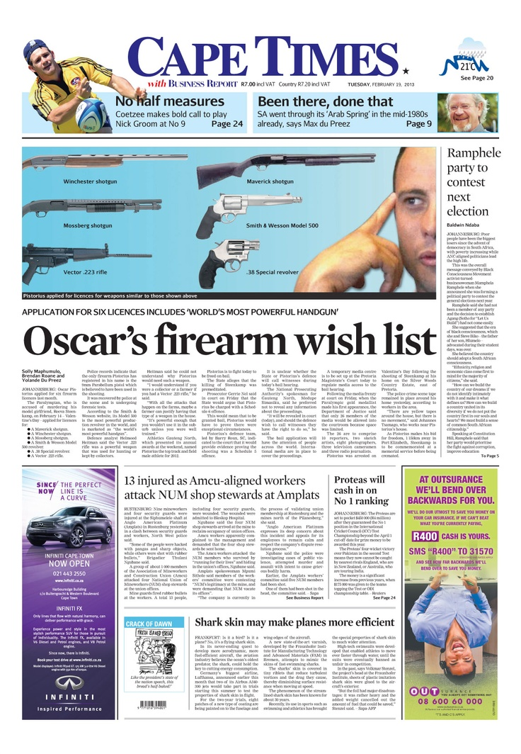 News making headlines: Oscar's firearm wish list