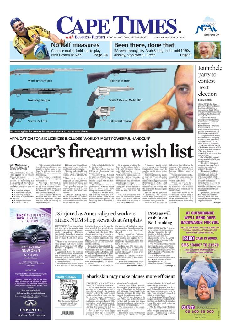 News making headlines: Oscar's firearm wish list